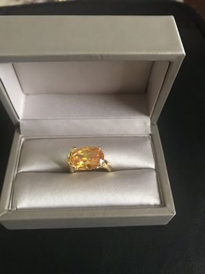 18k gold plated Citrine gem stone beautiful ring size 6 for Sale in Wood Dale, IL