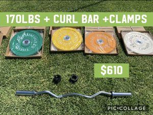 170LBS OF BUMPER PLATES WITH CURL BAR AND COLLAR CLAMPS! for Sale in Los Angeles, CA
