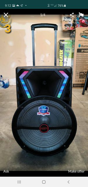 """New 15"""" subwoofer rechargeable, Bluetooth, usb, sd, tf, fm, microphone, remote control for Sale in Riverside, CA"""