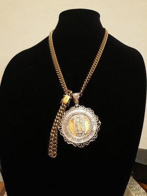 Mens 14k Yellow Gold Plated Cuban Link Set 12mm for Sale in Port St. Lucie, FL