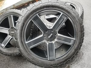 """22"""" KMC wheels tires 6 lugs gmc chevy for Sale in Bolingbrook, IL"""