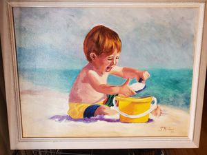Painting of little boy at beach for Sale in Fullerton, CA