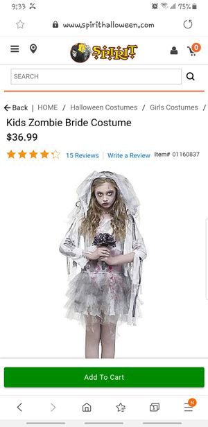 Spirit Zombie Bride Girls Med 8-10 for Sale in Fresno, CA