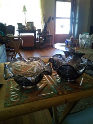 2 Vintage Bubble Glass Bowls Black Tulip Top for Sale in Parma, OH