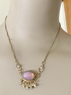 Beautiful Vintage Vandell 1/20 12K Gold Filled Opal & Rhinestone Pendant Necklace for Sale in Mountain View, CA