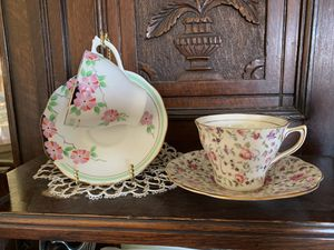 Antique cups and saucers bone china ($15 for both sets) for Sale in Chino Hills, CA