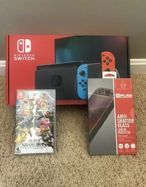 Nintendo Switch Neon Joy-Con w/ Screen Protector & Super Smash Bros - Brand New! for Sale in Downey, CA