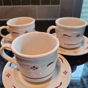 Longaberger 3 Cup & Saucer Set. Red Woven Traditons for Sale in Auburn, WA