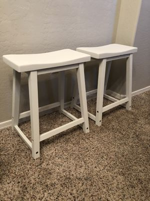 Pair of saddle back stools white stools for Sale in Gilbert, AZ