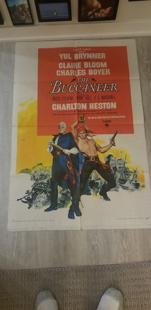 1958 The Buccaneer Movie Poster Yul Brenner for Sale in Chevy Chase, MD