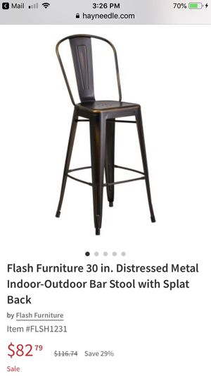 (2) Flash Furniture 30 in. Distressed Metal Indoor-Outdoor Bar Stool with Splat Back for Sale in Parker, CO