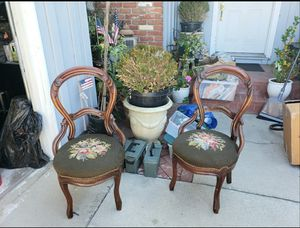 Antique/Vintage wood chairs with embroidery for Sale in La Mirada, CA