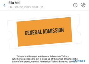 Ella Mai Tour Feb 22, 2019 1 ticket for $50 (originally $80) for Sale in Fort McDowell, AZ