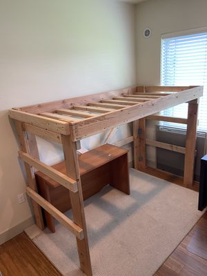 Rustic Wood Lofted Twin Bunk Bed for Sale in Seattle, WA