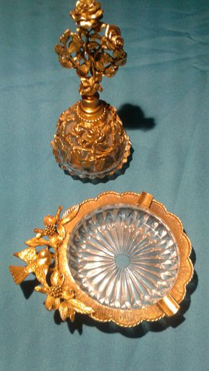 Matson antique perfume bottle and ashtray 24k gold plated for Sale in Fullerton, CA