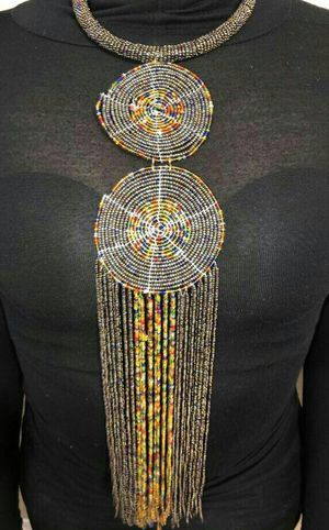 Hanging Grayish/Brownish Maasai Beaded Necklace for Sale for sale  Dallas, TX
