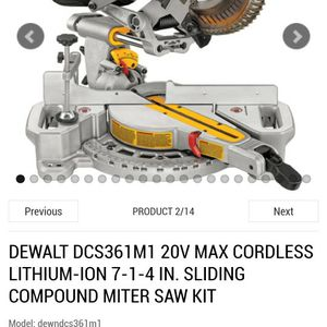 PLEASE READ!!! DEWALT DCS361M1 20V MAX CORDLESS LITHIUM-ION 7-1-4 SLIDING COMPOUND MITER SAW KIT for Sale in Nellis Air Force Base, NV