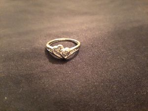 Beautiful White Gold With 7 Small Diamonds Double Heart Ring Size 5 for Sale in Peoria, AZ
