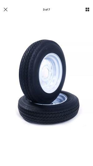 2 New Trailer Tires & Rims 5.30x12. 5 Hole Wheel White Spoke for Sale in San Bernardino, CA