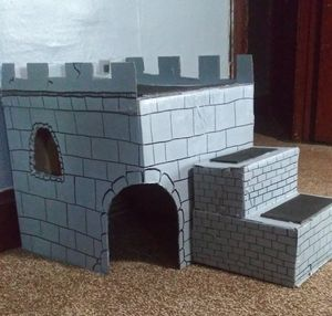 Cat home and Lay area- Cardboard Castle Cat house for Sale in Cleveland, OH