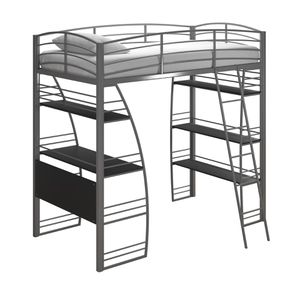 DHP Metal Frame Twin Loft Bed with Desk and Shelves for Sale in Brooklyn, NY