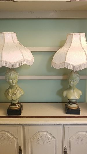 Antique boy and girl lamp set for Sale in Garner, NC