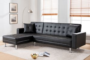 Black faux leather sleeper sectional reversible chaise( New) for Sale in San Jose, CA