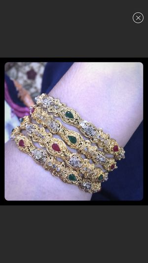 Gold plated Indian style bangles set women's jewelry accessory for Sale in Silver Spring, MD