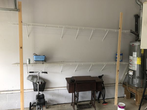White wall shelving 6' and 4' sections