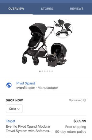 Eve flo pivot expand travel system single or turn into a double stroller for Sale in Gainesville, FL