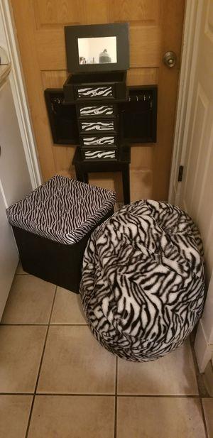 Zebra Jewelry armoire, zebra storage bin and zebra bean bag for Sale in West Mifflin, PA