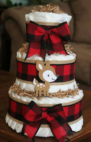Woodland animals diaper cake for Sale in Centreville, VA