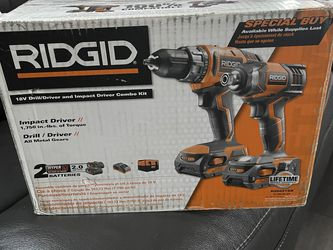 Ridgid 18v Drill /driver And Impact Driver Combo Kit New Open Box for Sale in Sloan,  NV