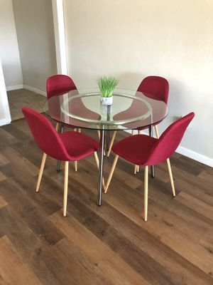Modern Round Red Dining Table Set for Sale in Los Angeles, CA