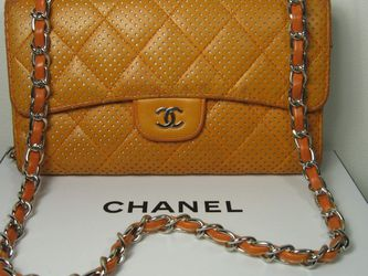 Chanel Orange Lambskin Leather CC Long 2.55 Classic Flap Bag Wallet for Sale in McHenry,  IL