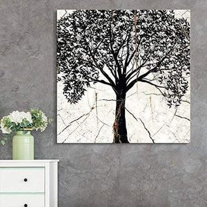 ((FREE SHIPPING)) square canvas wall art - bohemian tree wood effect canvas - giclee print gallery wrap modern home decor Painting like print for Sale in Redwood City, CA