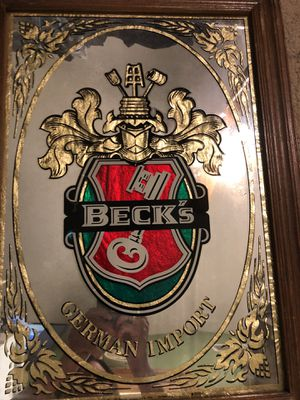 14.5x20 vintage mirrored framed BECKs GERMAN IMPORT advertising sign. Great bar man cave sign. 28.00. 212 North Main Street Buda 🍁Johanna. Antique f for Sale in Buda, TX