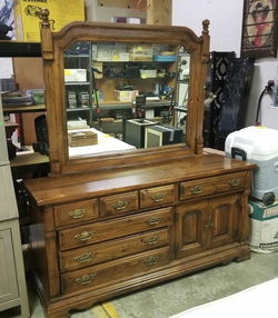 Gorgeous Knotty Pine Ten Drawer Dresser with Adjustable Mirror - Delivery Available for Sale in Tacoma,  WA