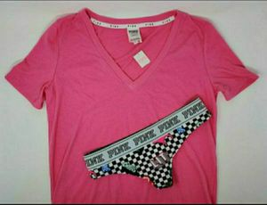 Victorias Secret Hot Pink Tee and Checker Thong Panty Set Small NWT for Sale in New Braunfels, TX