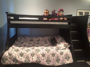 Black Full/twin wooden bunk bed frame for Sale in Slaton, TX