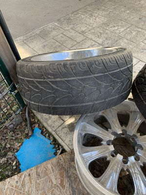 """20"""" 8 lug wheels (2good tires) for Sale in Coarsegold, CA"""