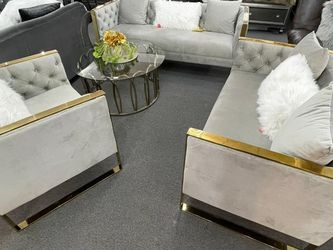 Sofa Set 3pcs Fancy Elegance Contemporary With Beautiful Pillows for Sale in Lilburn,  GA