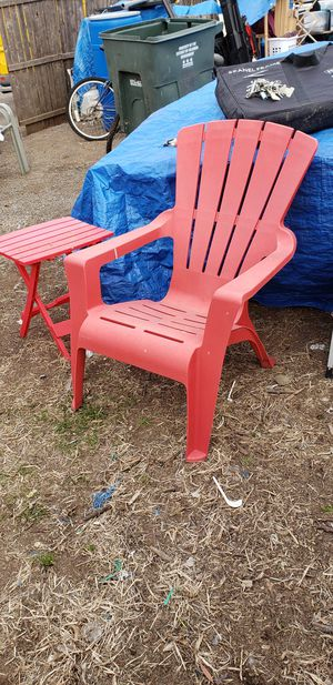 Plastic Adirondack Chair and Table for Sale in Washington, DC