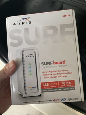 ARRIS SURFboard (16x4) DOCSIS 3.0 Cable Modem, 686 Mbps Max Speed, Certified for Comcast Xfinity, Spectrum, Cox, Cablevision & more (SB6183 White) for Sale in Gilbert, AZ