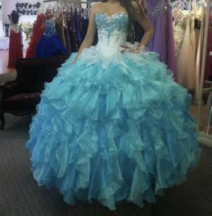 Beautiful Turquoise Bonny Bridal Designer QUINCEANERA DRESS for Sale in Tampa, FL