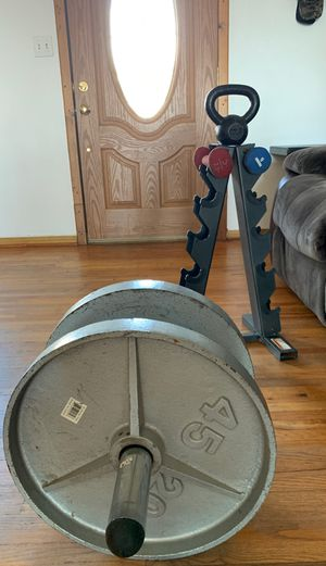 Kettle bell, 45 Olympic plates weights, Olympic dumbbell for Sale in Bonita, CA