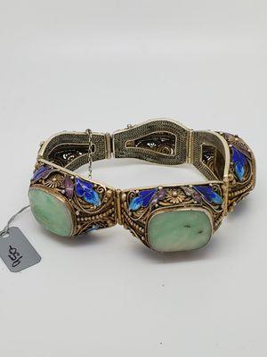 Antique Silver Enamel Jade Bracelet for Sale in Port St. Lucie, FL