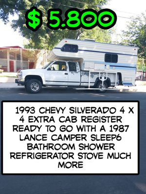 1993 Chevy Silverado 4 by 4 with a 1987 Lance camper for Sale in Los Angeles, CA