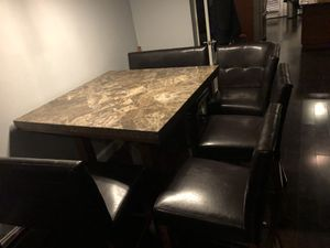 Real Marble Dining room table and chairs (not granite or plastic) actual marble for Sale in Baltimore, MD