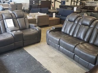 New ashley Furniture Turbulence 2pc Power Reclining Set Sofa And Loveseat Tax Included for Sale in San Leandro,  CA
